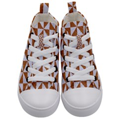 Triangle1 White Marble & Rusted Metal Kid s Mid Top Canvas Sneakers