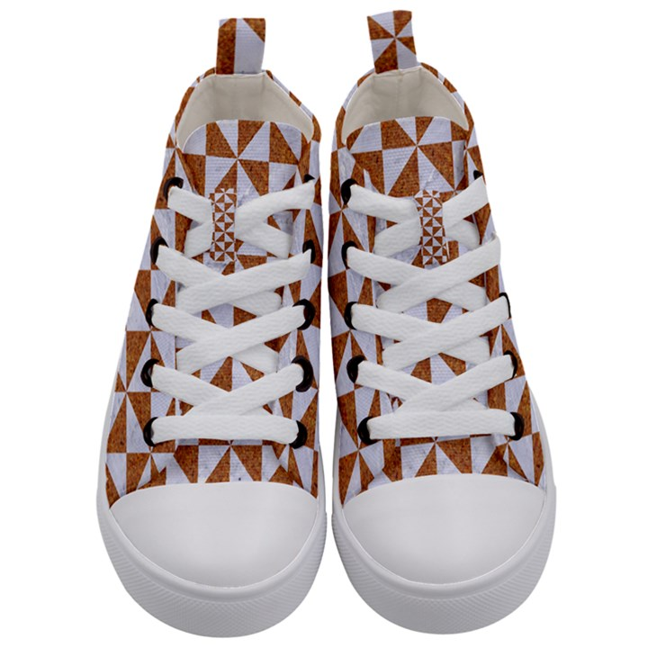 TRIANGLE1 WHITE MARBLE & RUSTED METAL Kid s Mid-Top Canvas Sneakers