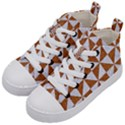TRIANGLE1 WHITE MARBLE & RUSTED METAL Kid s Mid-Top Canvas Sneakers View2