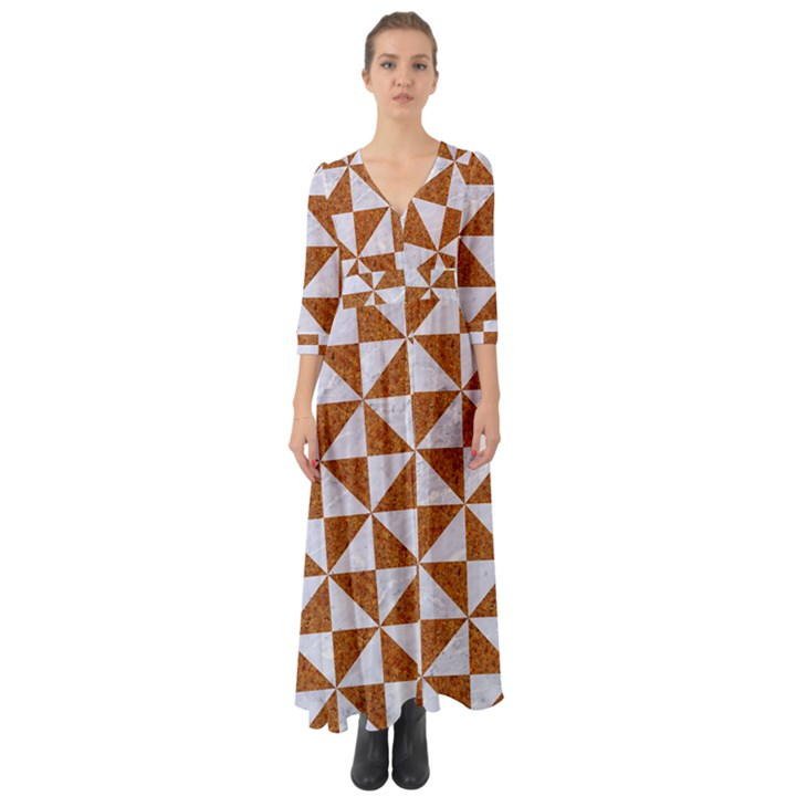 TRIANGLE1 WHITE MARBLE & RUSTED METAL Button Up Boho Maxi Dress