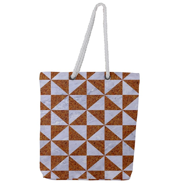 TRIANGLE1 WHITE MARBLE & RUSTED METAL Full Print Rope Handle Tote (Large)