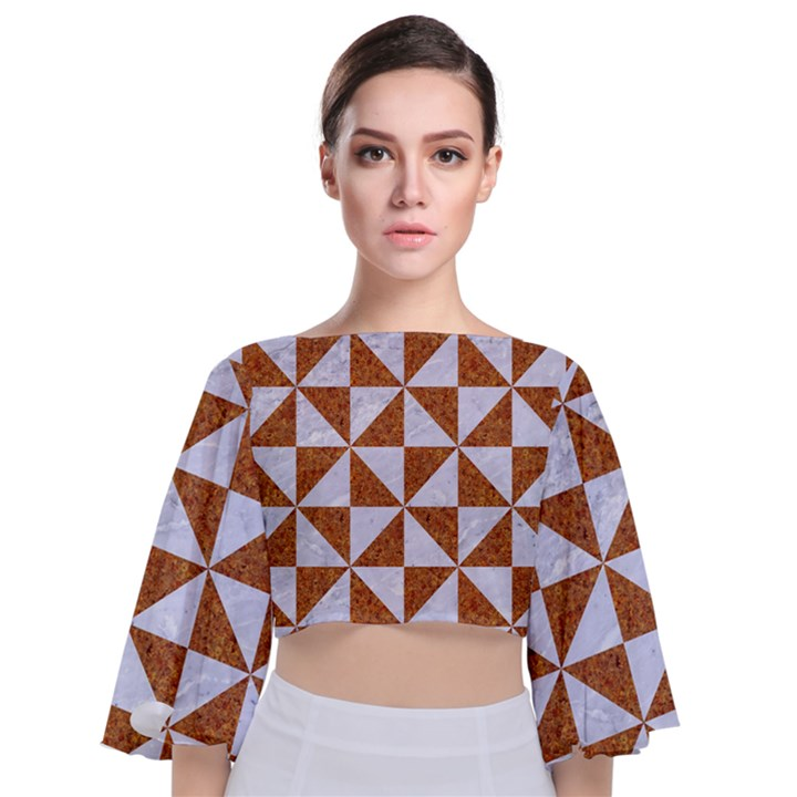 TRIANGLE1 WHITE MARBLE & RUSTED METAL Tie Back Butterfly Sleeve Chiffon Top