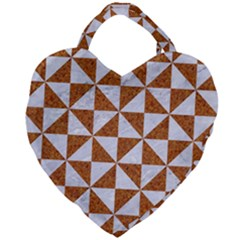 Triangle1 White Marble & Rusted Metal Giant Heart Shaped Tote