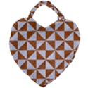 TRIANGLE1 WHITE MARBLE & RUSTED METAL Giant Heart Shaped Tote View2