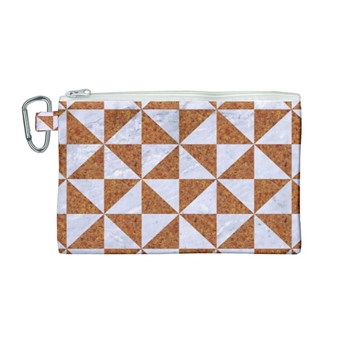 TRIANGLE1 WHITE MARBLE & RUSTED METAL Canvas Cosmetic Bag (Medium)
