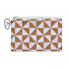 Triangle1 White Marble & Rusted Metal Canvas Cosmetic Bag (large)