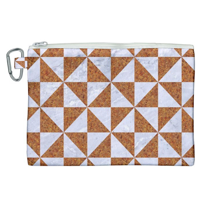 TRIANGLE1 WHITE MARBLE & RUSTED METAL Canvas Cosmetic Bag (XL)