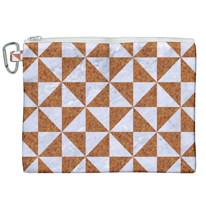TRIANGLE1 WHITE MARBLE & RUSTED METAL Canvas Cosmetic Bag (XXL)