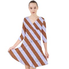 Stripes3 White Marble & Rusted Metal Quarter Sleeve Front Wrap Dress
