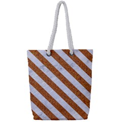 Stripes3 White Marble & Rusted Metal Full Print Rope Handle Tote (small)
