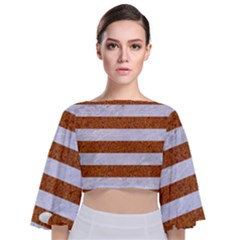 Stripes2white Marble & Rusted Metal Tie Back Butterfly Sleeve Chiffon Top