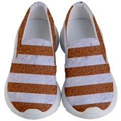 Stripes2white Marble & Rusted Metal Kid s Lightweight Slip Ons