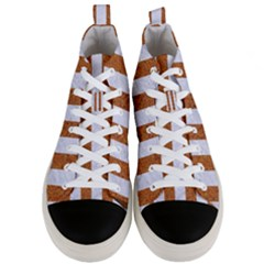 Stripes1 White Marble & Rusted Metal Men s Mid Top Canvas Sneakers