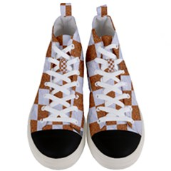 Square1 White Marble & Rusted Metal Men s Mid Top Canvas Sneakers