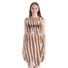 Skin4 White Marble & Rusted Metal Sleeveless Chiffon Dress