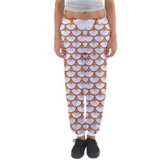 Scales3 White Marble & Rusted Metal (r) Women s Jogger Sweatpants