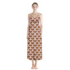 Scales3 White Marble & Rusted Metal Button Up Chiffon Maxi Dress