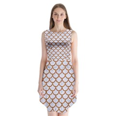 Scales1 White Marble & Rusted Metal (r) Sleeveless Chiffon Dress