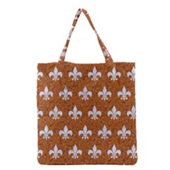 Royal1 White Marble & Rusted Metal (r) Grocery Tote Bag