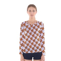 Houndstooth2 White Marble & Rusted Metal Women s Long Sleeve Tee