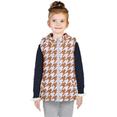 Houndstooth1 White Marble & Rusted Metal Kid s Hooded Puffer Vest