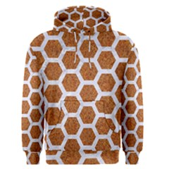 Hexagon2 White Marble & Rusted Metal Men s Pullover Hoodie