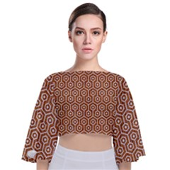 Hexagon1 White Marble & Rusted Metal Tie Back Butterfly Sleeve Chiffon Top