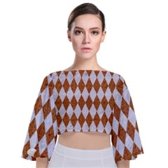 Diamond1 White Marble & Rusted Metal Tie Back Butterfly Sleeve Chiffon Top
