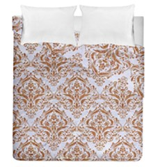 Damask1 White Marble & Rusted Metal (r) Duvet Cover Double Side (queen Size)