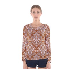 Damask1 White Marble & Rusted Metal Women s Long Sleeve Tee