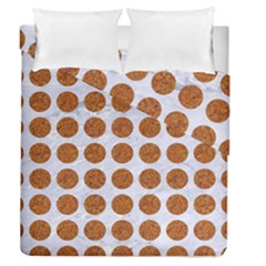 Circles1 White Marble & Rusted Metal (r) Duvet Cover Double Side (queen Size)