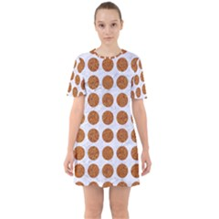 Circles1 White Marble & Rusted Metal (r) Sixties Short Sleeve Mini Dress