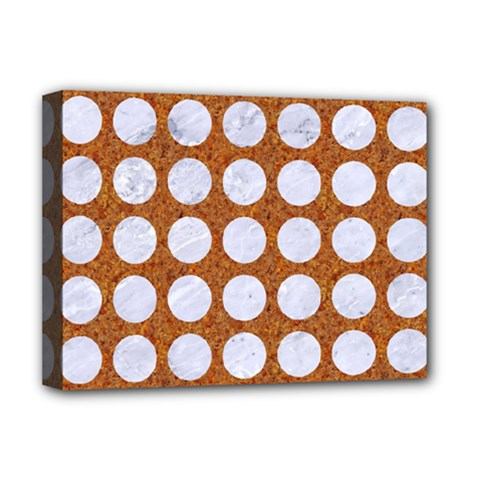 Circles1 White Marble & Rusted Metal Deluxe Canvas 16  X 12