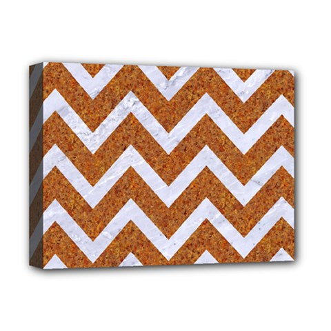 Chevron9 White Marble & Rusted Metal Deluxe Canvas 16  X 12