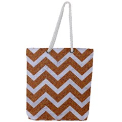 Chevron9 White Marble & Rusted Metal Full Print Rope Handle Tote (large)