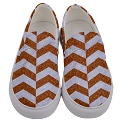 Chevron2 White Marble & Rusted Metal Men s Canvas Slip Ons