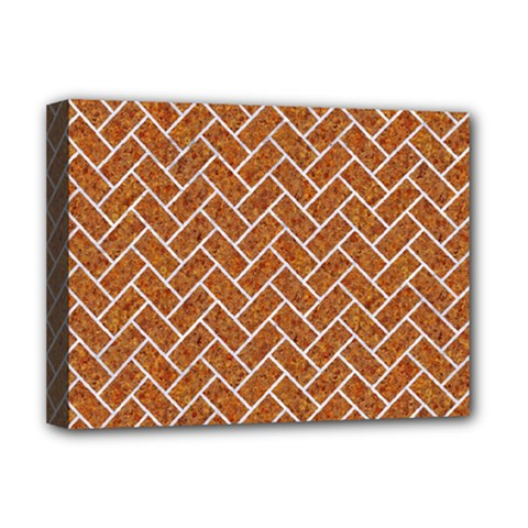 Brick2 White Marble & Rusted Metal Deluxe Canvas 16  X 12