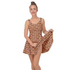 Brick1 White Marble & Rusted Metal Inside Out Dress