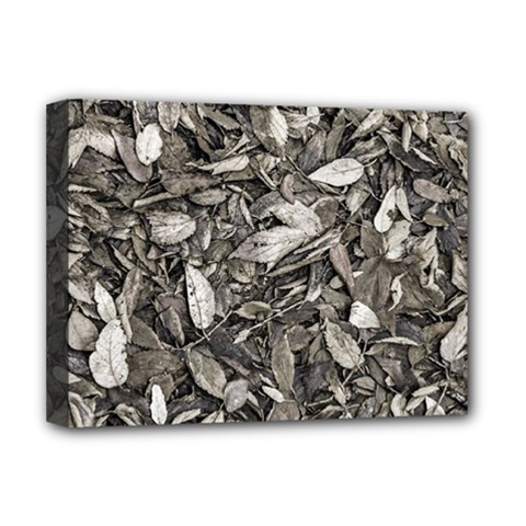 Black And White Leaves Pattern Deluxe Canvas 16  X 12