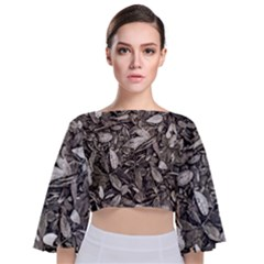 Black And White Leaves Pattern Tie Back Butterfly Sleeve Chiffon Top