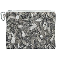 Black And White Leaves Pattern Canvas Cosmetic Bag (xxl)