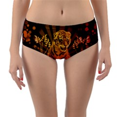 Cute Little Tiger With Flowers Reversible Mid Waist Bikini Bottoms