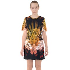 Cute Little Tiger With Flowers Sixties Short Sleeve Mini Dress