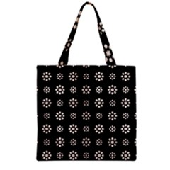 Dark Stylized Floral Pattern Grocery Tote Bag