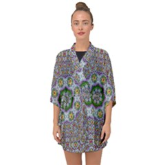 Summer Bloom In Floral Spring Time Half Sleeve Chiffon Kimono