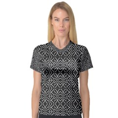Black And White Tribal Print V Neck Sport Mesh Tee