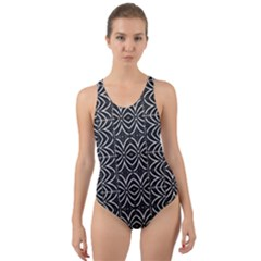 Black And White Tribal Print Cut Out Back One Piece Swimsuit