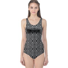 Black And White Tribal Print One Piece Swimsuit