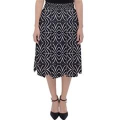 Black And White Tribal Print Folding Skater Skirt