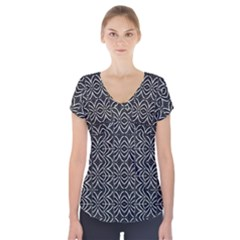 Black And White Tribal Print Short Sleeve Front Detail Top